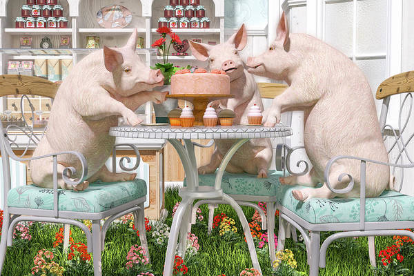 Wall Art - Digital Art - Three Little Pigs And The Birthday Cake by Betsy Knapp