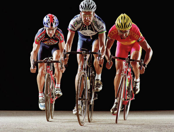 Endurance Race Photograph - Three Male Cyclist Riding Bicycles by Mike Powell