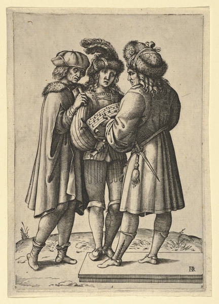 Drawing - Three Male Singers Standing Together Holding A Sheet Of Music by Attributed to Luca Ciamberlano