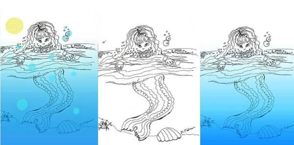 Three Mermaids All In A Row Art Print