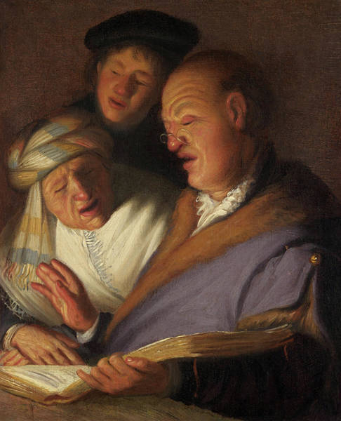 Wall Art - Painting - Three Musicians, Allegory Of Hearing by Rembrandt van Rijn