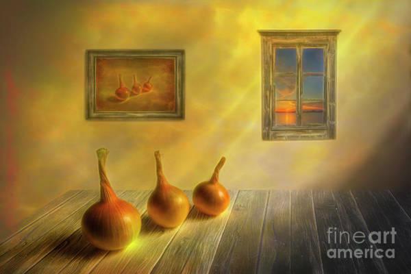 Painterly Digital Art - Three Onions by Veikko Suikkanen