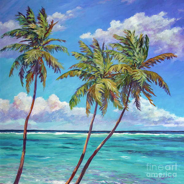 Wall Art - Painting - Three Palms Against The Sky by John Clark