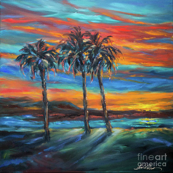 Painting - Three Palms At Sunset by Linda Olsen