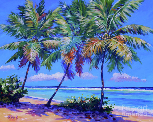 South Beach Painting - Three Palms- East End by John Clark