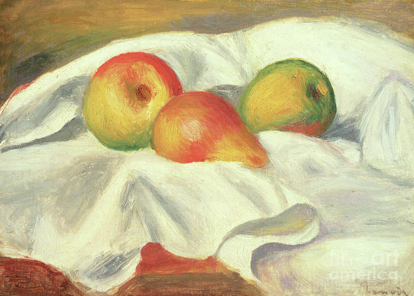 Wall Art - Painting - Three Pears, Circa 1885  by Pierre Auguste Renoir