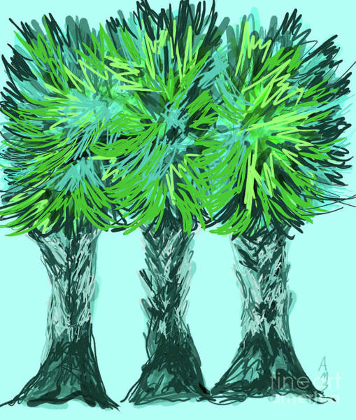 Digital Art - Three Playful Palm Trees by Annette M Stevenson