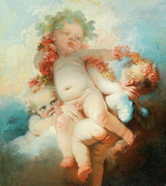 Putto Painting - Three Putti Crowned With Flowers by Jean-Honore Fragonard