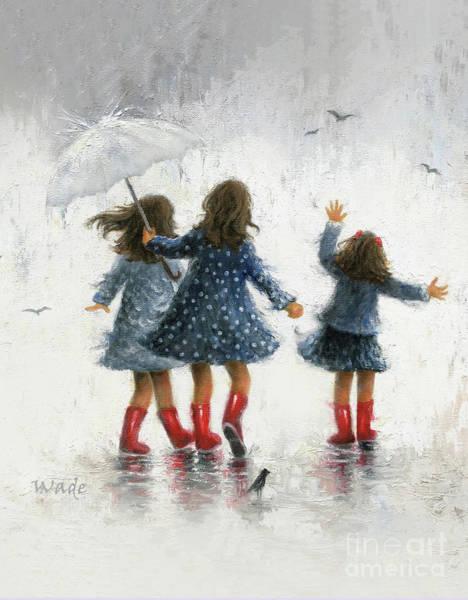 Wall Art - Painting - Three Rain Girls by Vickie Wade