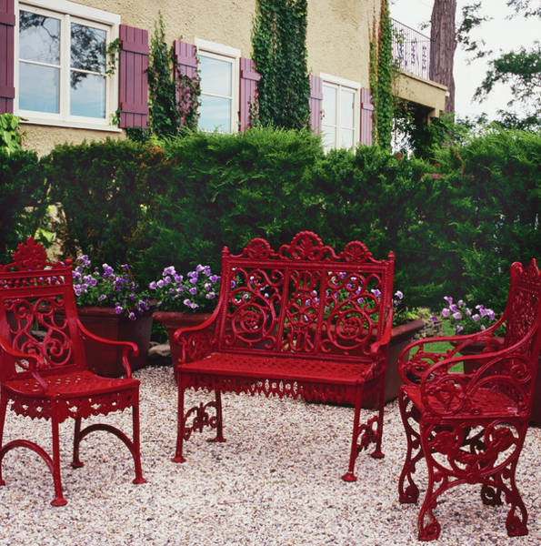 Wall Art - Photograph - Three Red Benches by Richard Felber