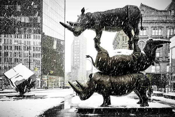 Wall Art - Photograph - Three Rhinoceri In New York  by Chris Lord