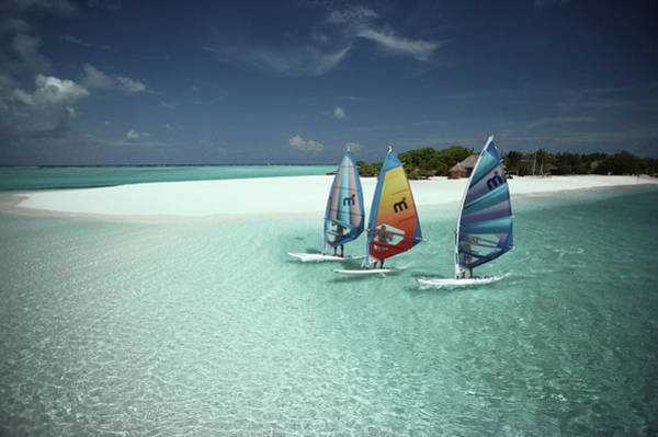 Windsurfing Photograph - Three Sailboarders Off The Beach Of by Ulli Seer / Look-foto