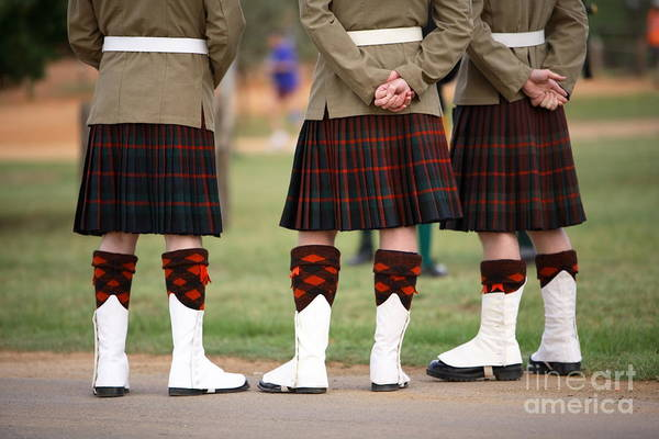 Wall Art - Photograph - Three Scottish Solders Dressed In Kilts by Mark Atkins
