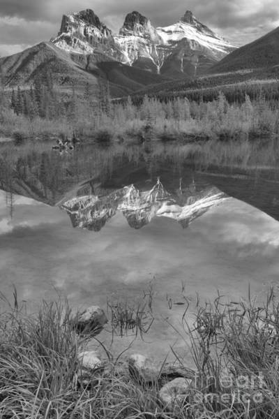 Photograph - Three Sisters Afternoon Portrait Reflections Black And White by Adam Jewell