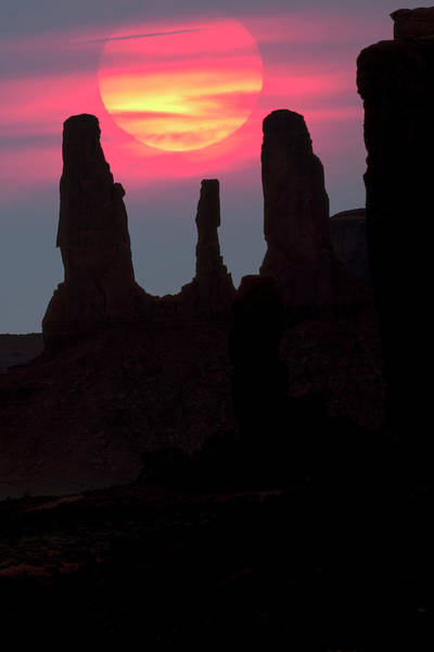 Wall Art - Photograph - Three Sisters Formation Silhouetted by Adam Jones