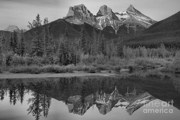 Photograph - Three Sisters Morning Glow Black And White by Adam Jewell