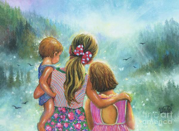 Wall Art - Painting - Three Sisters Of Summer Baby Girl Redhead by Vickie Wade