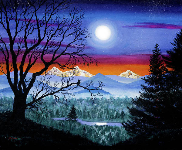 Three Sisters Wall Art - Painting - Three Sisters Overlooking A Moonlit River by Laura Iverson