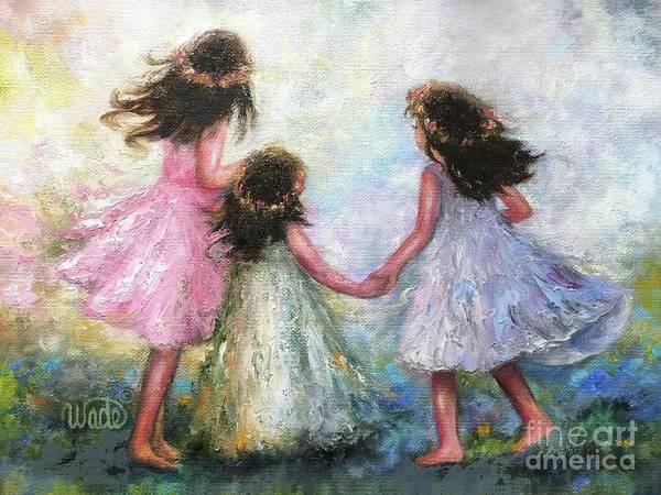 Wall Art - Painting - Three Sisters Pocket Full Of Posies by Vickie Wade