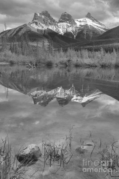 Photograph - Three Sisters Reflection Portrait Black And White by Adam Jewell