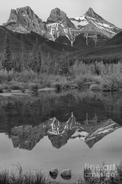 Photograph - Three Sisters Sunrise Portrait Black And White by Adam Jewell