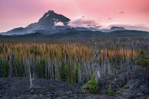 Oregon Ridge Photograph - Three Sisters Sunset by Leland D Howard