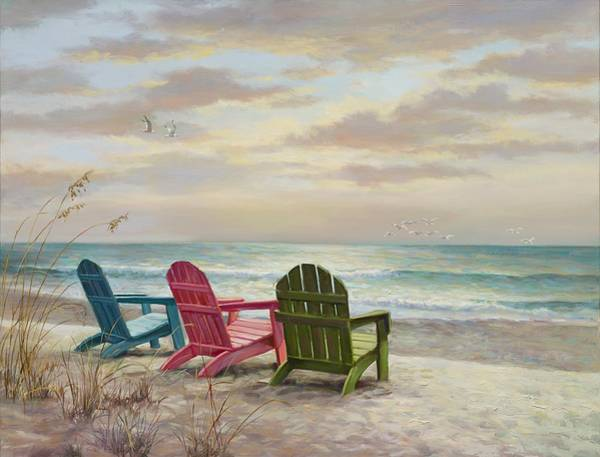 Sea Oats Painting - Three Some by Laurie Snow Hein
