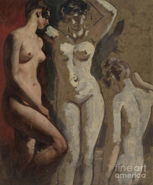 Wall Art - Painting - Three Standing Female Nudes by William Etty