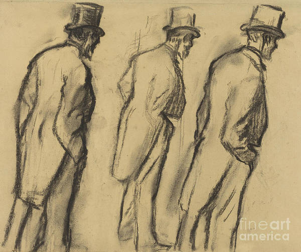Wall Art - Drawing - Three Studies Of Ludovic Halevy Standing by Edgar Degas