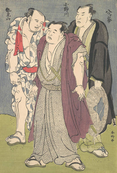 Relief - Three Sumo Wrestlers - Onogawa, Seimiyama, And Yatsugamine by Katsukawa Shunko