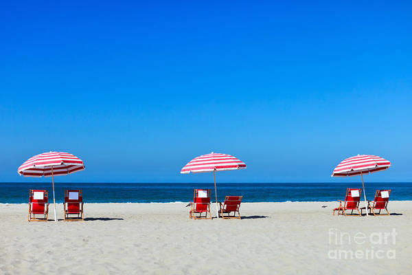 Coastline Wall Art - Photograph - Three Sun Umbrellas At Santa Monica by Blueorange Studio