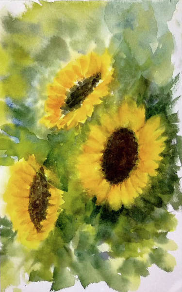 Wall Art - Painting - Three Sunflowers by Asha Sudhaker Shenoy