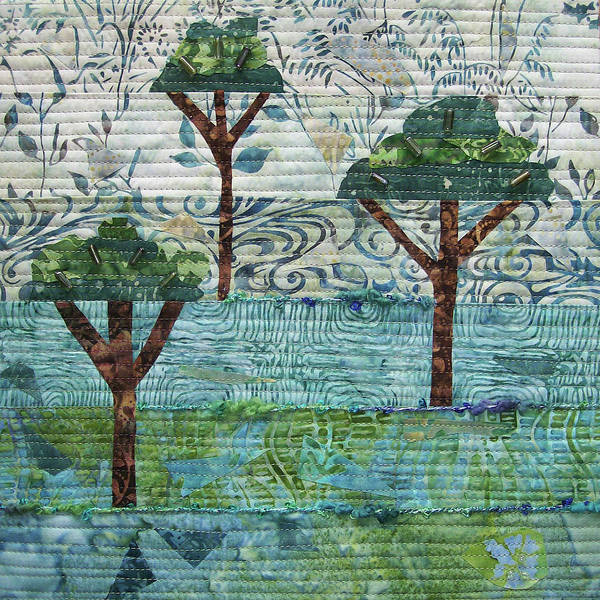 Tapestry - Textile - Three Trees by Pam Geisel