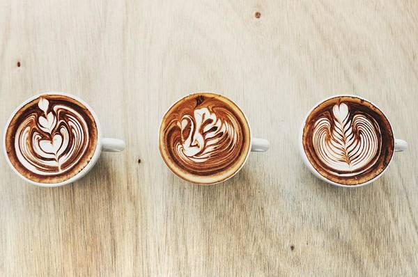 Drink Photograph - Three Types Of Latte Art by Carlina Teteris