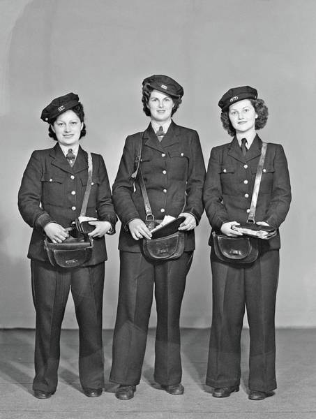 Painting - Three Unidentified Women Tram Conductors In Uniform With Leather Ticket Pouches, Probably Taken Duri by Stanley Polkinghorne Andrew