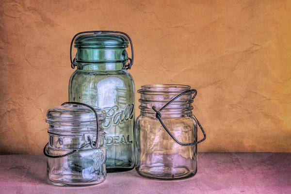 Wall Art - Photograph - Three Vintage Ball Jars by Tom Mc Nemar
