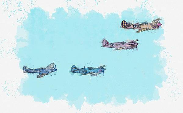 Wall Art - Painting - Three Warhawks And A Spit Watercolor By Ahmet Asar by Celestial Images
