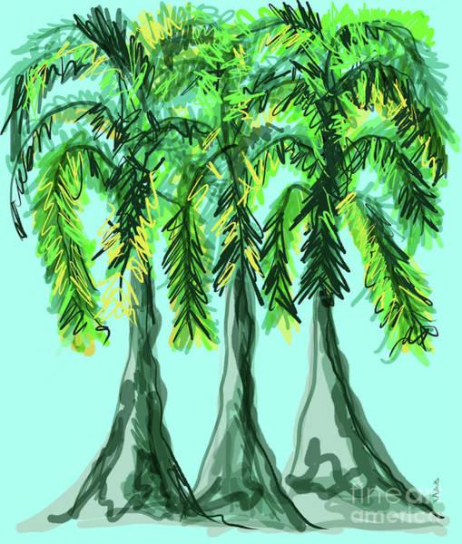 Digital Art - Three Whimsical Palm Trees by Annette M Stevenson