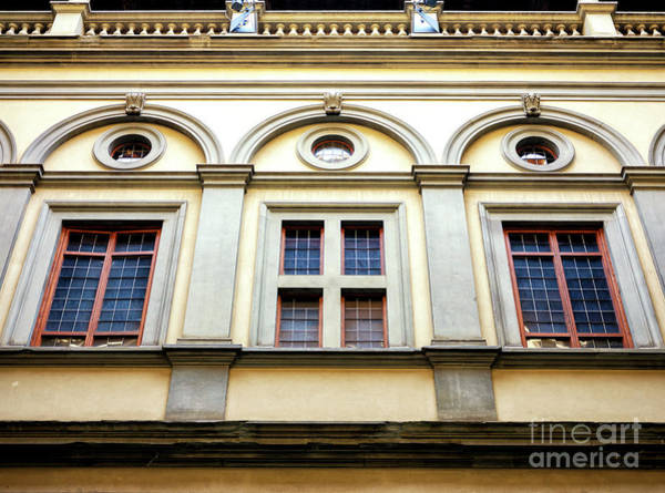 Photograph - Three Windows At Palazzo Strozzi In Florence by John Rizzuto