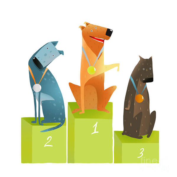 Amusing Wall Art - Digital Art - Three Winners Dogs Sitting On Podium by Popmarleo