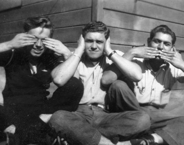 Painting - Three Wise Monkeys Navy Sailors Men Males Japan 40s 40s Ww2 by Celestial Images