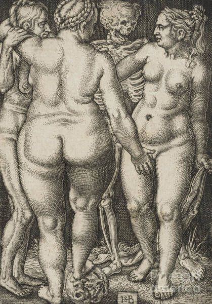Wall Art - Drawing - Three Women And Dead by Hans Sebald Beham