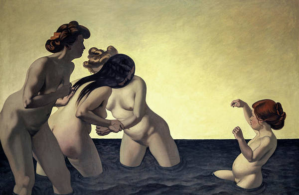 Wall Art - Painting - Three Women And One Little Girl Playing In The Water, 1907 by Felix Vallotton