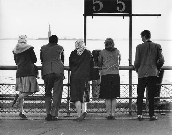 Battery Park Wall Art - Photograph - Three Women And Two Men Face Away From by The New York Historical Society