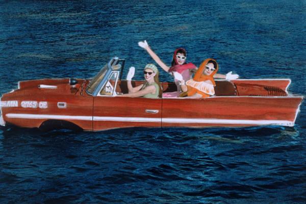 Kitsch Photograph - Three Women In Car In Lake Za-38771 by Kelly Povo