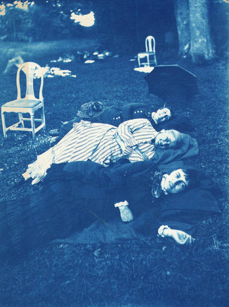 Painting - Three Women Lying In The Grass, The One In The Top Of The Picture Is Calla Curman, Wife Of Carl Curm by Celestial Images