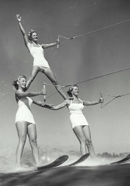 Waterskiing Photograph - Three Women Water Skiers Form Pyramid by Archive Holdings Inc.