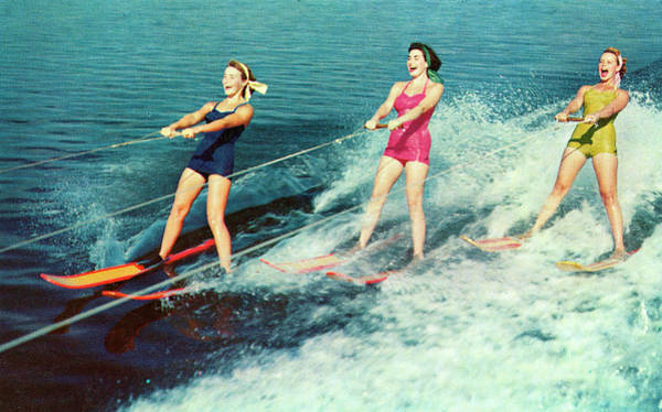 American Culture Photograph - Three Women Waterskiing by Graphicaartis