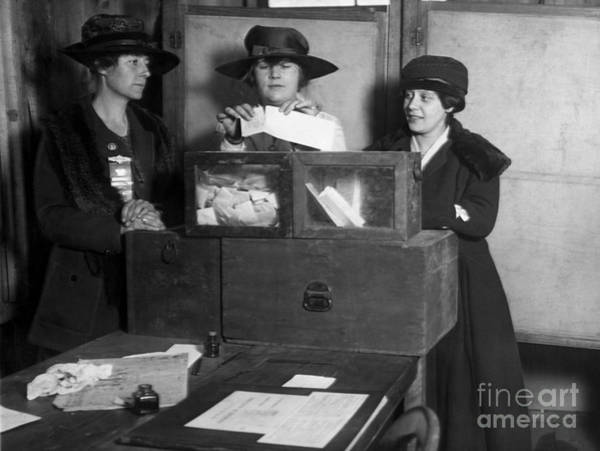Wall Art - Photograph - Three Womens Suffragists Casting Votes by Everett Historical