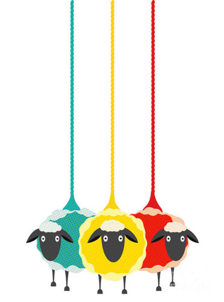 Wall Art - Digital Art - Three Yarn Sheep. Vector Eps10 Graphic by Popmarleo